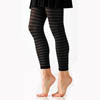 Solid Opaque Leggings - Black/Gray Striped