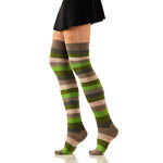 Over The Knee Socks - Striped Khaki