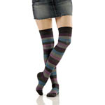 Over The Knee Socks - Striped Peacock