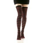 Opaque Thigh Highs - Black/Burgundy Striped