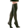 Opaque Thigh Highs - Black/Gray Striped