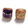Peanut Butter and Jelly Toast Stud Earrings