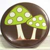 Pocket Mirror - Double Mushroom Green on Brown