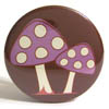 Pocket Mirror - Double Mushroom Purple on Brown