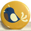 Pocket Mirror - Petite Blue Bird on Mustard