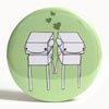 Pocket Mirror - Robot Love Green