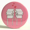 Pocket Mirror - Robot Love Pink
