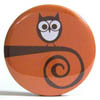 Pocket Mirror - Spiral Twig Owl Orange